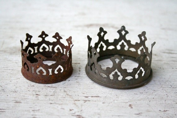 TWO RARE Rustic Ornate Crowns - Antique Chandelier Pieces - Steampunk Finds