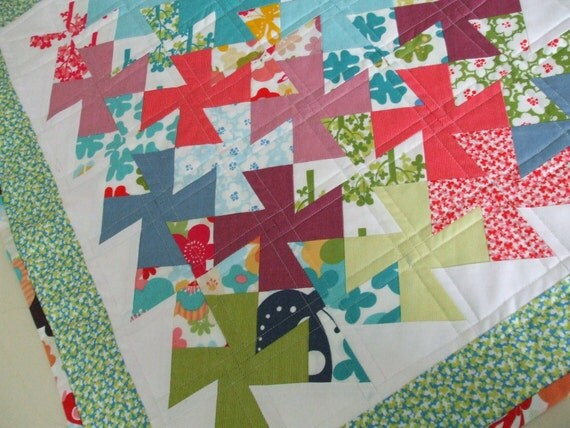 Quilted Pinwheel Table Runner MODA Just Wing It
