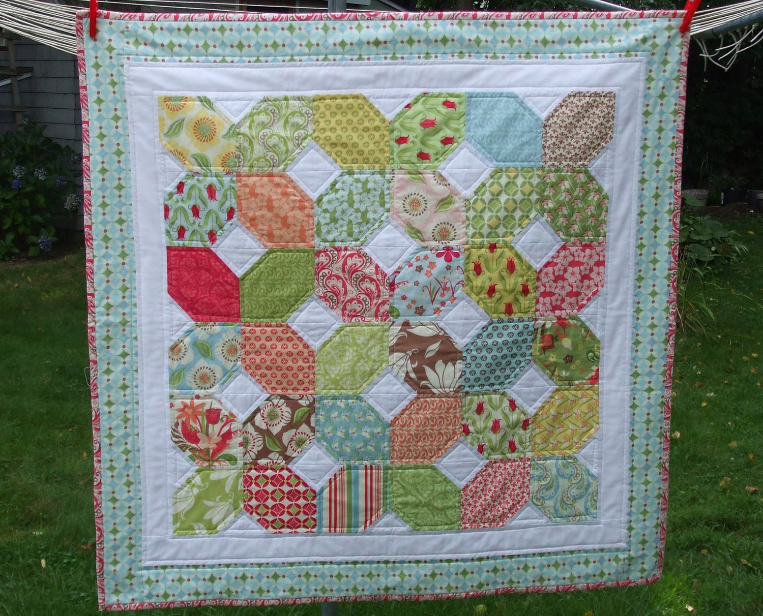 X S And O S Baby Quilt Or Table Topper Verna By Kate