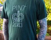 Men's / Unisex Beer Pint Tshirt - Forest Green - Large