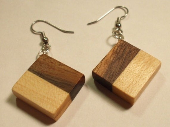 Handcrafted earrings in black walnut and sugar maple