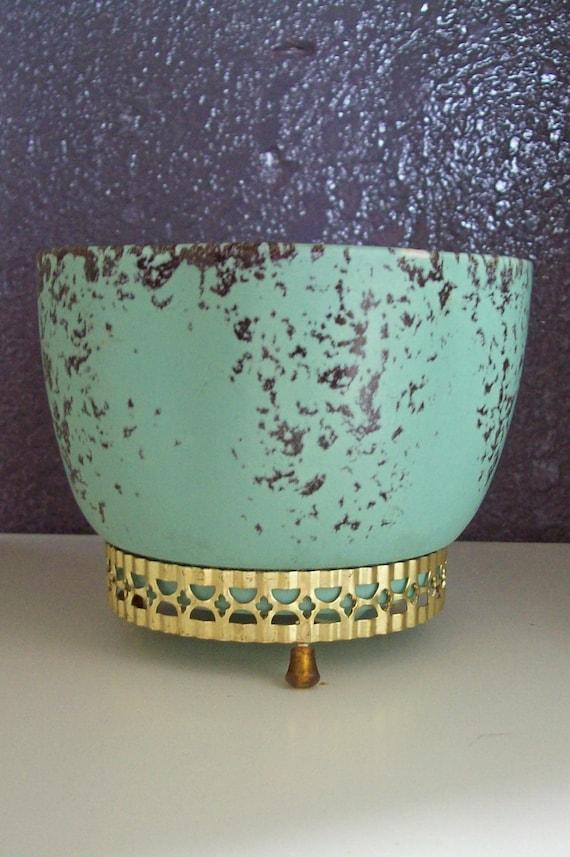 Gordons Ceramics California Vintage Mint Green Planter and Stand