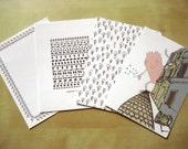 4 collemoki postcards - flamin, monst, noise, stamp pattern