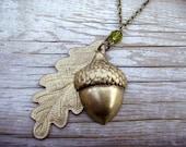 Bridal Necklace Golden Spring Green Olive Oak Leaf and Acorn Lariat