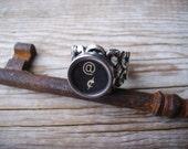 Steampunk Ring Upcycled Typewriter Key Ring on Silver