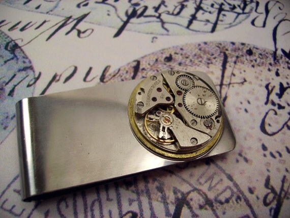 Men's Steampunk Money Clip with Vintage Watch Movement