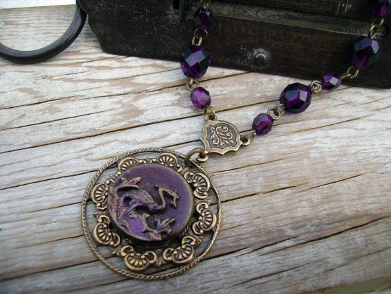 Victorian Picture Button Necklace River Bird Burgundy Pendant