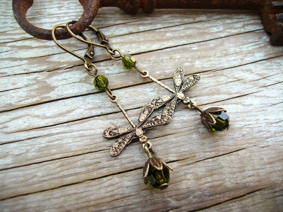 Steampunk Earrings Whimsical Golden Dragonfly with Olive Crystal Accent