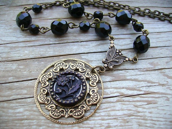 Victorian Button Necklace - Antique Steel Cut Button Necklace with Flower