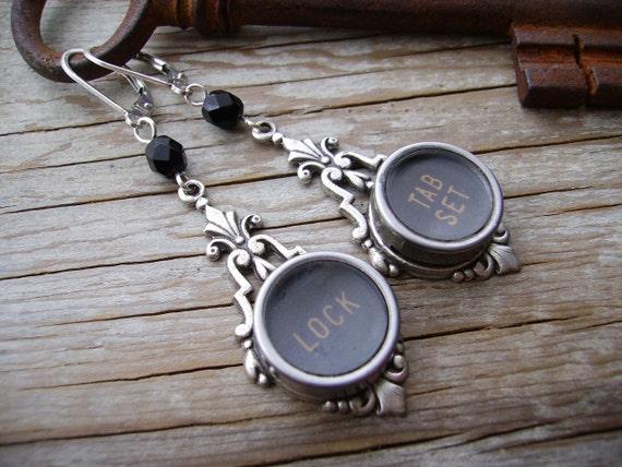 STEAMPUNK Earrings - Upcycled Typewriter Key Earrings - Lock and Tab Set on Silver Metal Filigree Lace