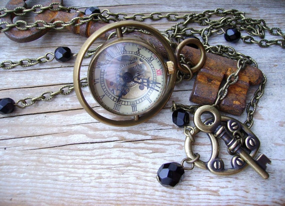 Steampunk Necklace Working Mechanical Skeleton Globe Glass Working Watch Black Midnight Crystal Clock Toggle Clasp