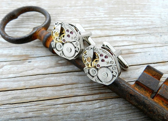 Steampunk Cufflinks Antique Mechanical Watch Movement Cuff Links 17 Jewel Gold Gear Wedding Party Christmas Everyday Awesome