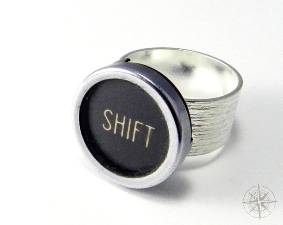 Steampunk Ring Upcycled Typewriter Key SHIFT Typewriter Ring on Wide Sterling Silver Plated Pinstripe Etched Band