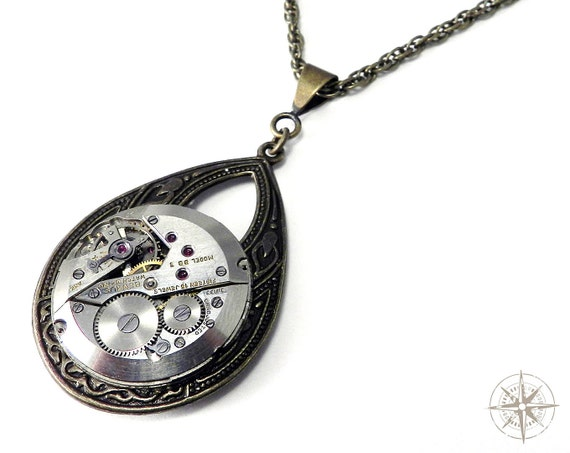 Steampunk Jewelry Necklace Brass Teardrop Pocket Watch Pendant Mechanical Swiss Watch Movement Necklace on Brass Pendant