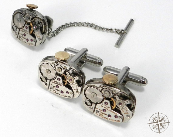 Mens Mechanical Cufflink and Tie Tack Set - Steampunk Cuff Links Tie Pin - SOLDERED Watch Movement Cuff Links 17 Jewel Benrus - Father's Day