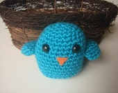 Baby Bird Rattle- Blue Mint RESERVED FOR DL