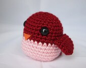 Crochet Amigurumi Bird Rattle Toy in Crimson Red and Soft Pink---baby shower diaper cake topper girl toddler