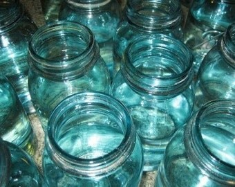 10 Beautiful BLUE Ball Vintage Mason Quart Jars