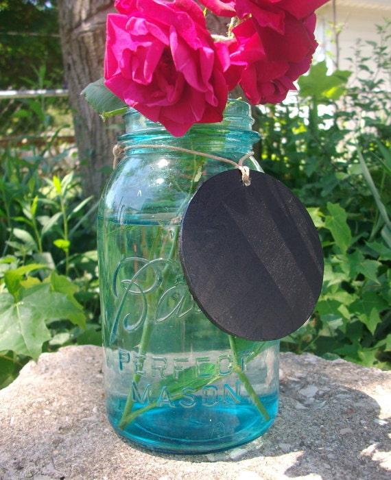 20 Blue Ball Vintage Mason Jars and 20 Chalkboard Blackboard Label Tags  Great for Weddings & Lanterns