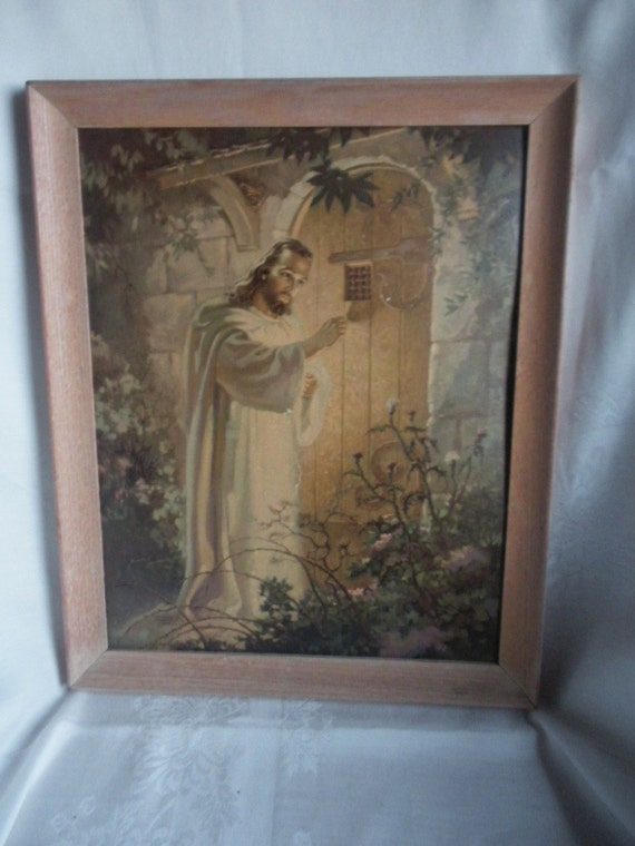 Warner Sallman Jesus Knocking Lithograph Print 1942