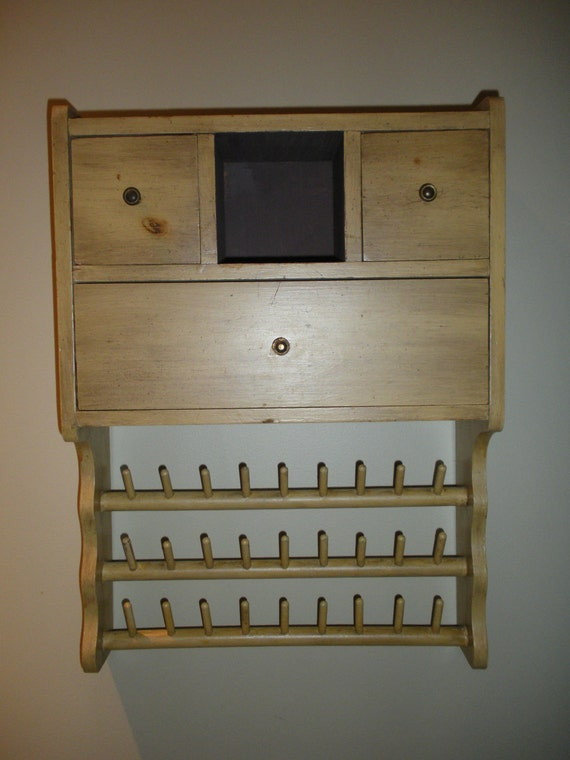 Hand Made Vintage Wood Sewing or Jewelry Cabinet