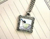 Tea cup wren - Doll house frame necklace