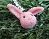 Reserved for Pascale Rose the pink rabbit- Polymer Clay Necklace