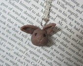 Reserved for Pascale Parsley the fawn brown baby bunny Necklace