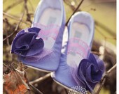 Rapunzel Inspired Handmade Baby Toddler Girls Soft Soled Shoes Booties & Ballet Flats...Perfectly Purple