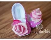 Sleeping Beauty Inspired Handmade Baby Toddler Girls Soft Soled Shoes Booties & Ballet Flats...Princess Aurora