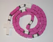 The Original Catholic Lego Rosary - Pink and White Girls First Communion Gift