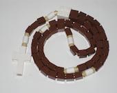 The Original Catholic Lego Rosary - Brown and White Catholic Rosary (The Franciscan)