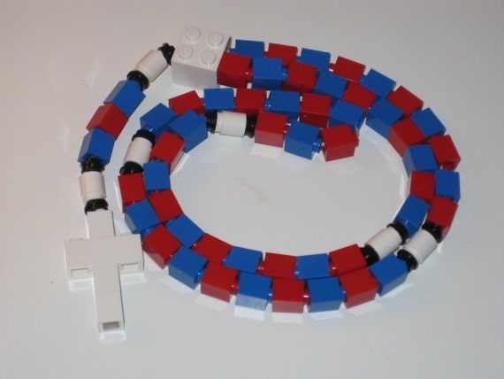 Red and Blue Catholic Rosary Made With LEGO Bricks (The Divine Mercy)