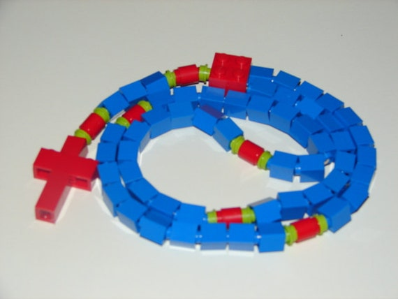 Blue, Red, and Green Catholic Rosary Made With LEGO Bricks