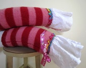SALE Toddler Girls Leg Warmers Felted Wool Leggings Upcycled Striped Pink Red - Size Small