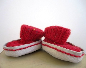 CLEARANCE Red Baby Booties Infant Slipper Boots Hand Crocheted Washable Unisex Booties Suede - Size Small