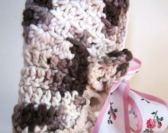 CLEARANCE Baby Bonnet Prairie Hand Crocheted Vintage Repro Retro Infant Little House  - Size Small