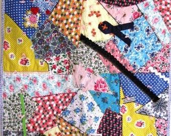 Crazy Quilt Patchwork Vintage Retro Calico Cotton Utilitarian Handmade - 40.5 x 25 Inches