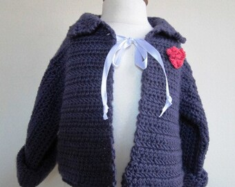 SALE Purple Baby Sweater Cardigan Girl Hand Crocheted Washable Infant - Size 6 Months