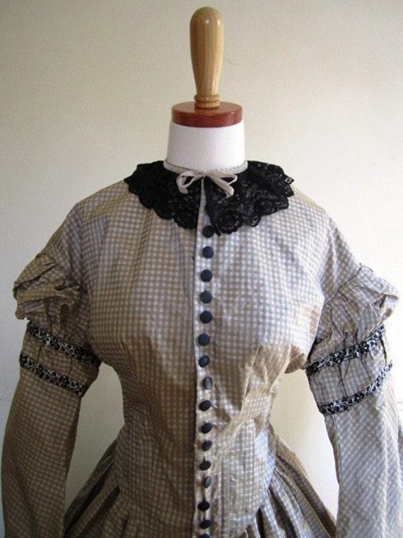 Civil War Reenactor Reproduction Silk Taffeta Victorian Day Dress Free U.S. Shipping- Size L