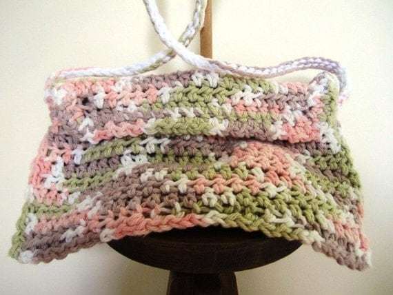 Crochet Ladies Bags : SALE! Clutch Purse Hand Crocheted Ladies Bag Shoulder Strap Cotton ...
