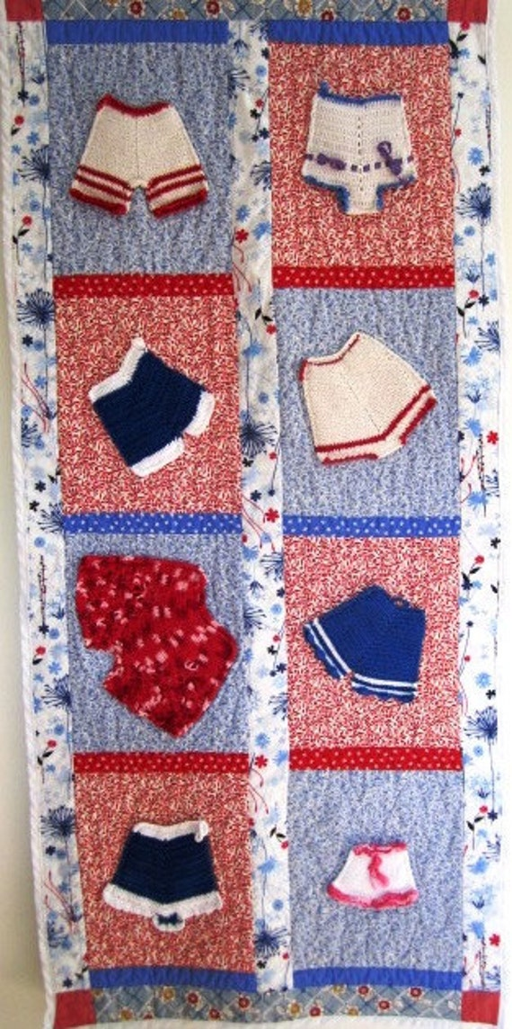 SALE Quilt Retro Kitsch Vintage Crocheted Underpants Panties Feed Sack  - 48 x 22 Inches