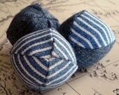 3 Tiny Upcycled Denim Catnip Ball cat toys