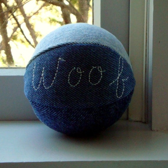 Personalized Recycled Denim Dog Squeaky Ball toy