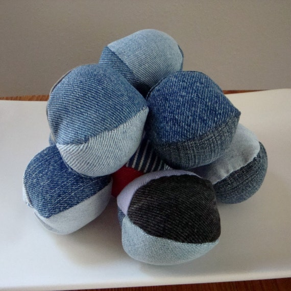 Recycled Denim Dog Squeaky Ball toy size small