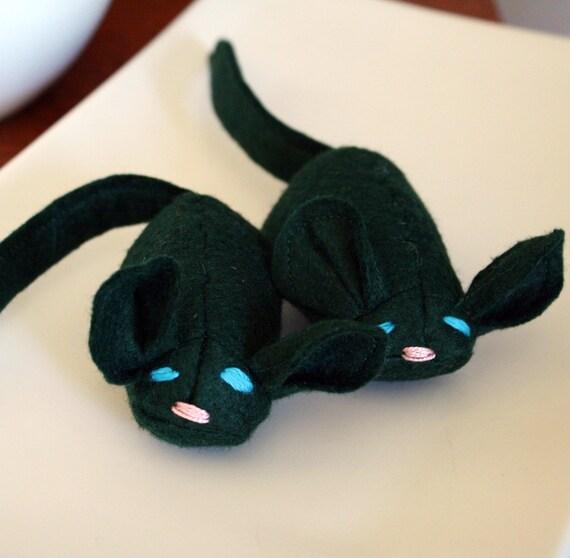 Emerald the Mouse wool blend felt catnip cat toy