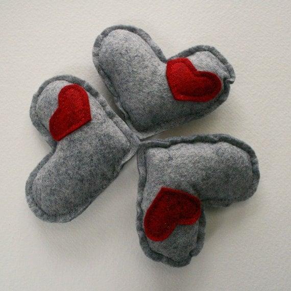 3 Wool Catnip Kitty Hearts catnip toys
