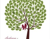Wedding Tree guestbook alternative, Personalized Signature tree, Maroon burgundy olive green, size 17x22 for 125 guests
