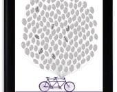 Tandem Bicycle Guest book Ideas Custom Guestbook Alternative Original Wedding Gift Modern Guest Book Alternative lapis purple eggplant