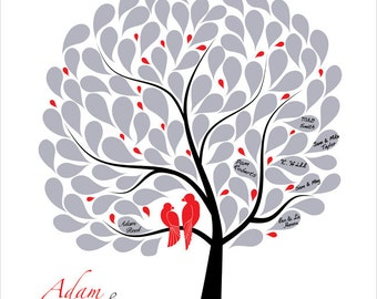 Wedding Tree Guest Book Custom Wedding Gift Guestbook Tree Love birds Personalized Wedding Guestbook Black Red Silver Classic Wedding Idea